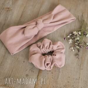 zestaw opaska pin up i scrunchies - pudrowy róż, pinup