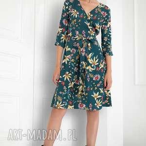 Kopertowa sukienka midi, sukienka, kwiary, swobodna, pasek, do-pracy, folk