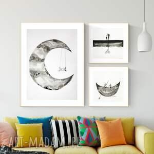 zestaw 3 oryginalnych grafiki czarno-białych, abstrakcja, elegancki minimalizm