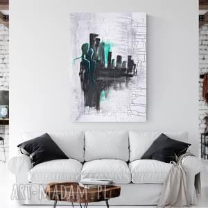 Obraz na płótnie malowany ręcznie tuszem, 70 x 100 cm, abstrakcja, turkus