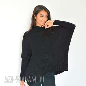 Sweter damski szeroki z golfem nietoperz czarny, dzianina, sweter,