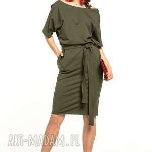 sukienki sukienka wiązana z dzianiny bawełnianej, t309, zielona