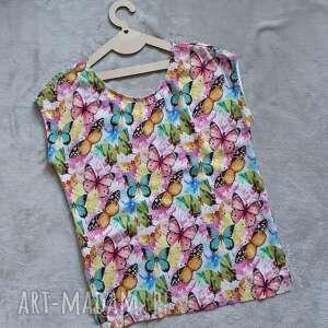 bluzki bluzeczka z krótkim rękawem motyle, bluzka rękawem
