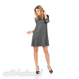 Sukienka srebrna rozkloszowana z rękawem 3/4, lalu, sukienka, rozkloszowana, trapez