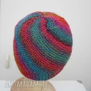 czapka wiatraczek 4, wełna, rękodzieło, druty, ciepła, koolorowa, ombre czapki