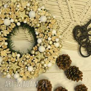 prezenty na święta zimowy wianek złoto, glamur, boże-narodzenie, drzwi