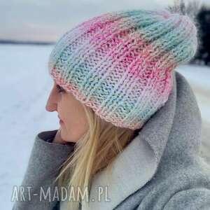 handmade czapki ciepła pastelowa czapka