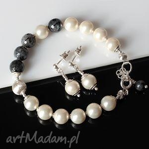 Larvikit w perłach, larvikit, perłyseashell, srebro, delikatny, elegancki, komplet