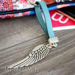 breloki skórzany brelok do kluczy skrzydło anioła jasnoniebieski