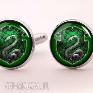 handmade spinki do mankietów slytherin - spinki do mankietów