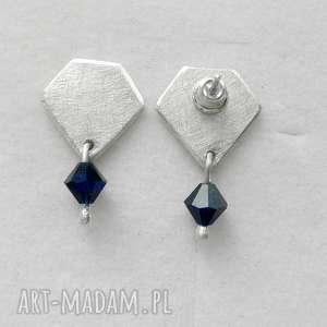 kolczyki diament kolczyki, srebro, sswarovski, zmatowione, święta prezent