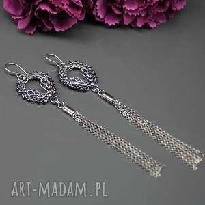 Długie srebrne kolczyki z chwostami Lumi , srebro, wire-wrapping, spinel, długie
