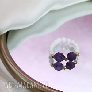 pierścionek - ametyst, koral