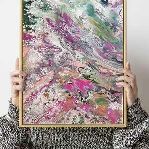 """Abstrakcja """"róż z zielenią"""" obraz akrylowy ręcznie malowany"""