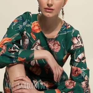 turkusowa sukienka w kwiaty, midi, wiskoza, uniwersalna, rozkloszowana, kwiaty