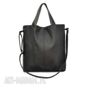 16-0022 Czarna duża torebka damska z paskiem na ramię JAY, markowe-torebki