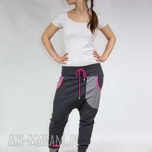Spodnie damskie baggy - dres (grafit róż) XS,S,M,L,XL, dresowe, bawełna, na-wymiar