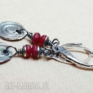 kolczyki ze srebra i jadeitu rubinowego