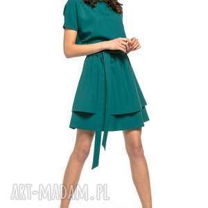 sukienka z podwójną spódnicą, t268, zielona, elegancka, sukienka, tkanina