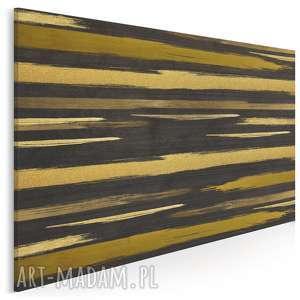 obraz na płótnie - linie złoty abstrakcja 120x80 cm 82701, linie