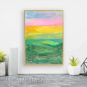 oprawiony rysunek pastelowy, abstrakcja w ramce, minimalizm obraz a4, pastelowa