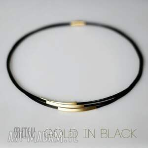 hand made naszyjniki kolia gold in black