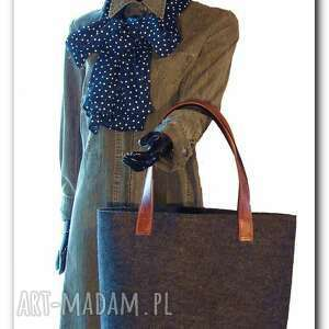 bardzo duża xxl, czarna minimalistyczna i pojemna torebka, torby, torebki, filc