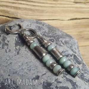 treendy kolczyki srebrne z amazonitem, srebro kolczyki, amazonit, modne