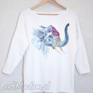 SŁOŃ bluzka oversize bawełniana L/XL biała , bluzka, biała, bawełniana, nadruk, słoń