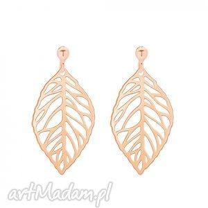 kolczyki z ażurowymi liśćmi z różowego złota