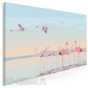 obrazy obraz na płótnie - flamingi ptaki - 120x80 cm (67801)