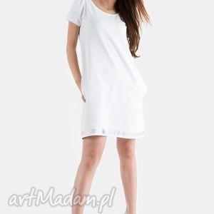 biała sukienka, biała, trapezowa, dzianina