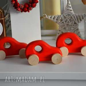 3 x samochody drewniane - auto, autko, samochód, samochodzik, drewniany, pojazd