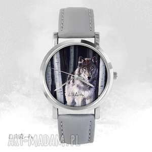 Prezent Zegarek - Szary wilk szary, skórzany, zegarek, bransoletka,