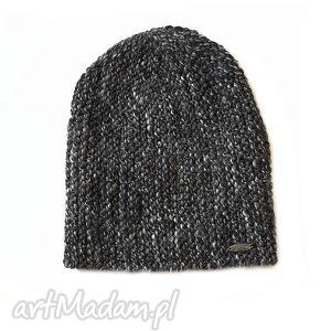 czapka 18 - czapka, beanie, melanż, grafit, dziergana, alpaka