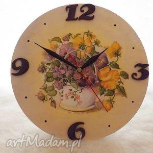 zegar w bratki, zegar, decoupage, prezent, kiaty zegary, oryginalny