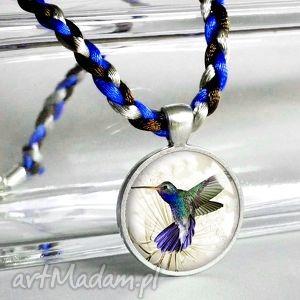 koliberek unikatowy naszyjnik , medalion, grafiką, ptaszek, ptak, ptaszki, prezent
