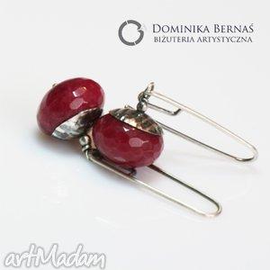 Jadeit rubinowy kolczyki, wiszące, oponki, jedeit, srebro, oksydowane