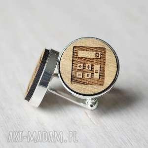 Drewniane spinki do mankietów KALKULATOR, drewniane, spinki, dębowe, kalkulator