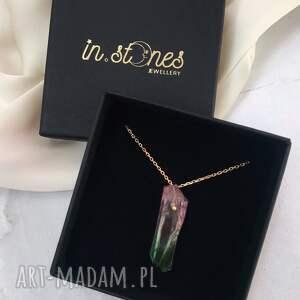 naszyjnik - kwarc różowo-zielony, z kwarcem, kamieniem