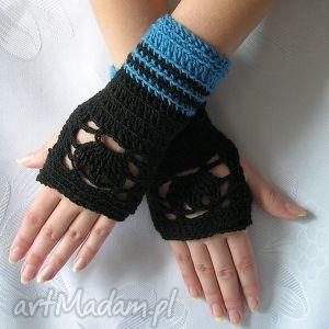 rękawiczki - ażurowe mitenki - czarno-niebieskie - lekkie, ozdobne, jesień