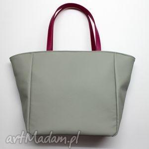 hand-made na ramię shopper bag worek - szary i rączki fuksja