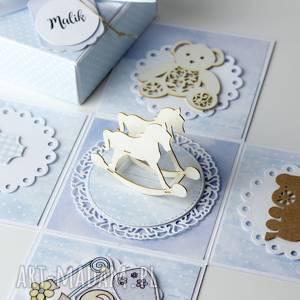 handmade scrapbooking kartki pudełko - kartka - prezent z okazji narodzin dla chłopca