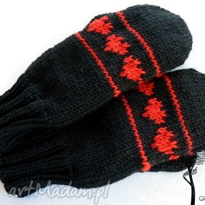 Czerwone jednopalczaste, rękawiczki, serce, walentynki