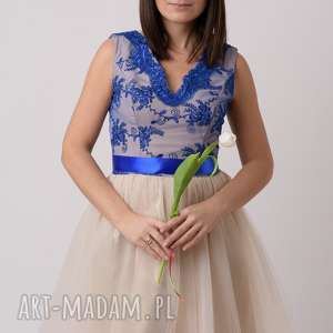 Sukienka damska KORNELIA, balowa, tiul, gipiura, koronka, mamaicórka, wstążka