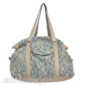 podróżne 07-0016 beżowo-niebieska torebka sportowa / torba fitness pigeon, modne