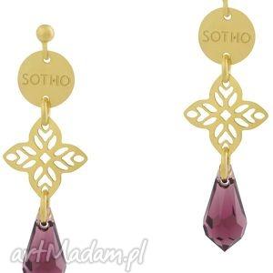 długie orientalne kolczyki z fioletowymi kryształami - wiszące