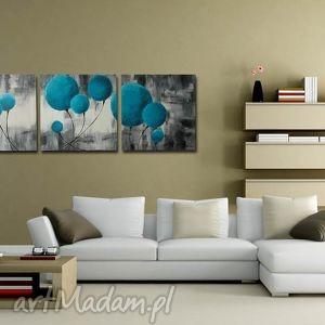 DMUCHAWCE TURKUSOWE 2 - 120x40cm, obraz, płótno, dmuchawce, turkusowy, turkus
