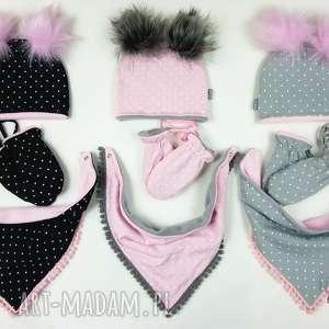 Komplet zimowy, podszyty polarem - 3 częściowy czapka chusta/komin rękawiczki