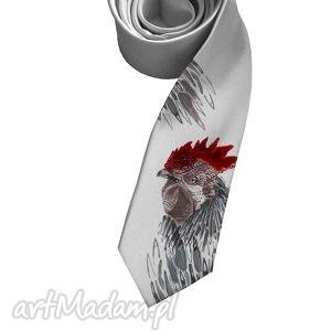 Krawat z kogutem, krawat, kogut, śledzik, nadruk, śledź